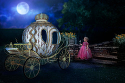 princess with carriage at night