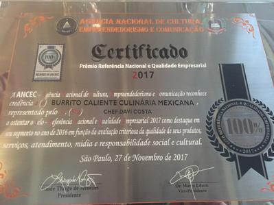 Chef Davi Costa e Burrito Caliente Prêmio Ancec