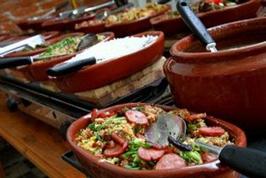 buffet a domicilio de pizzas, massas, risoto, paella, tapas espanhois, churrasco, mineiro, feijoada