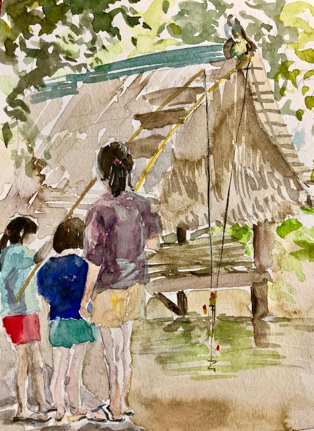 Children Fishing - Cambodian Countryside