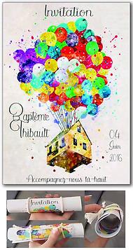 """Invitation Baptême """"Là-Haut"""" (Juin 2016)"""