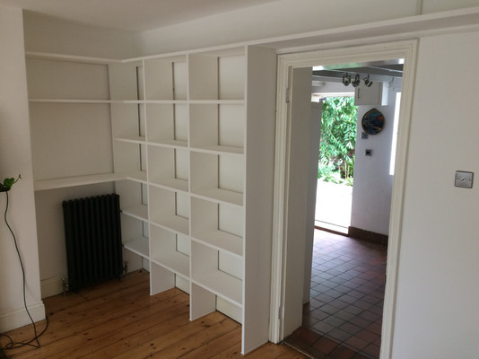 Fitted box shelving.