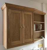 Oak wall cabinets.