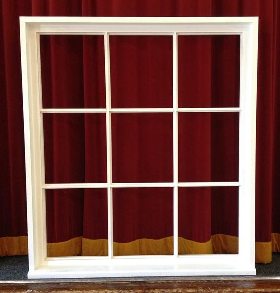Nine pane window.