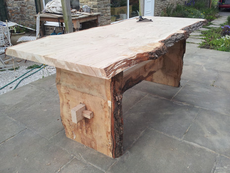Green oak table.