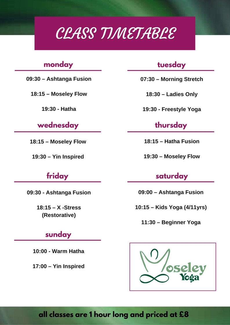 Moseley Yoga Timetable