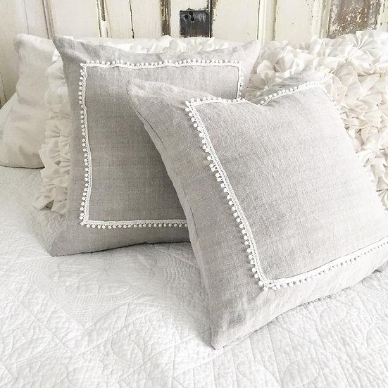 Gray Linen Pillow Slip with Trim