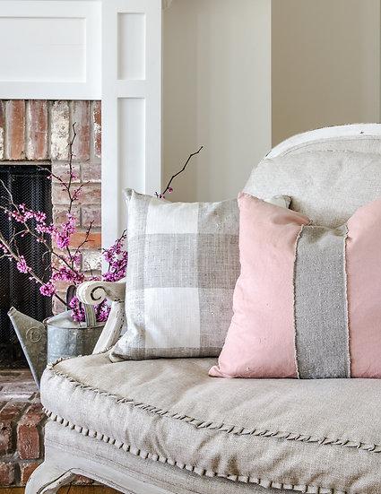 Blush Pillow Slip with Raw Linen Stripe