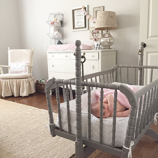 Refinished Vintage Cradle with Bedding