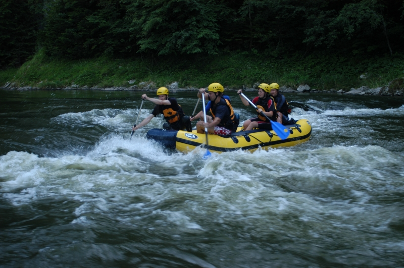 Modern water rafts on Dunajec