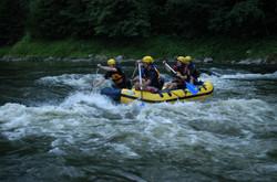 Modern water rafts on Dunajec