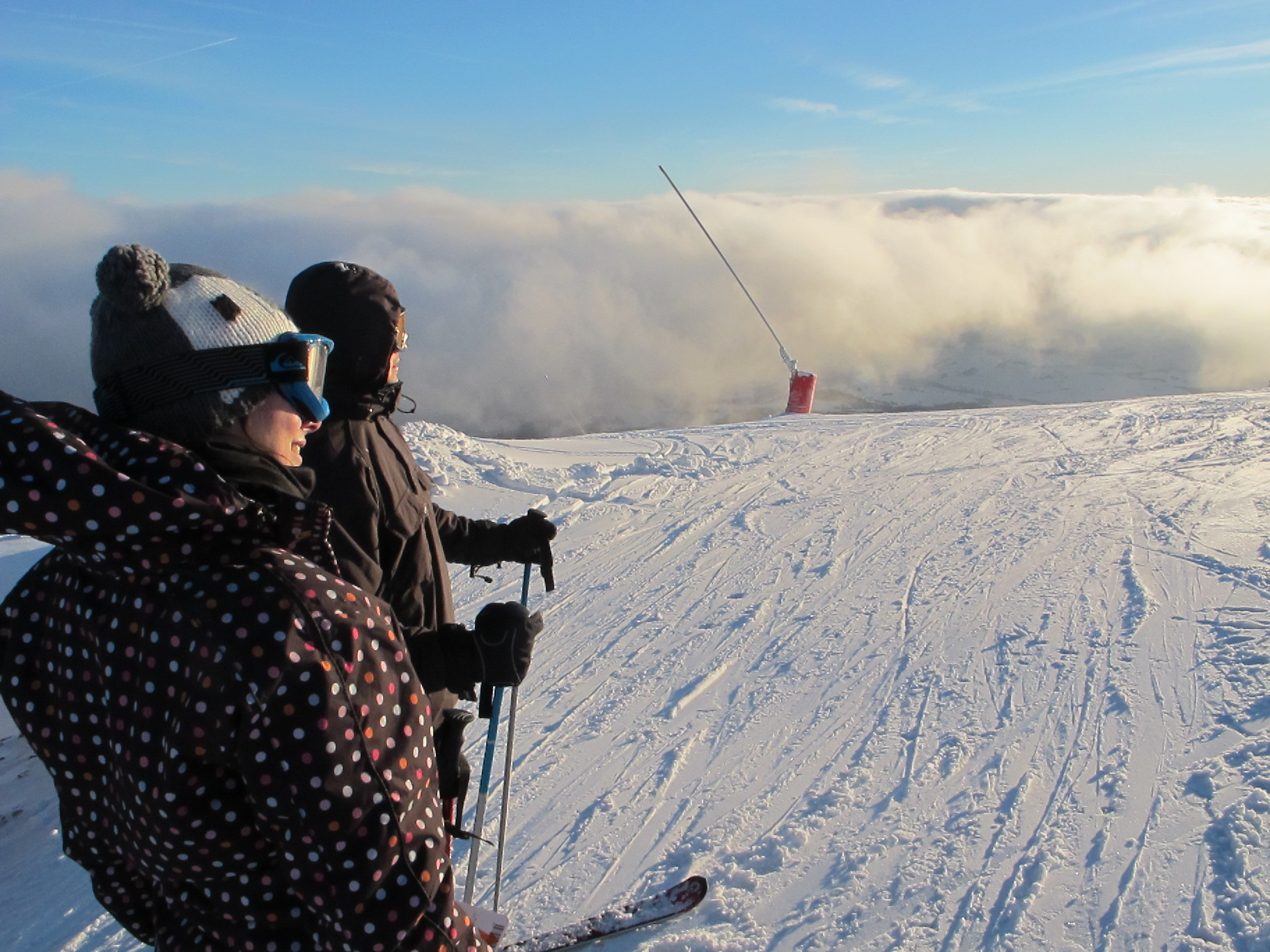 Skiing in the clouds