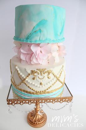Teal/Gold/Pink Bridal Shower Cake