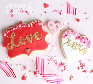 Love/xoxo Valentines Cookies
