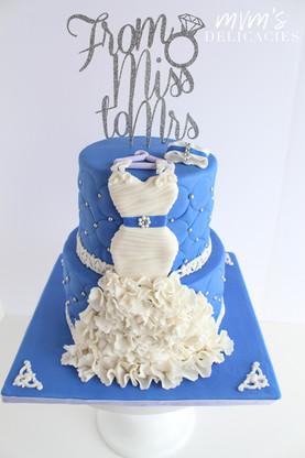 Blue Bridal Shower Cake
