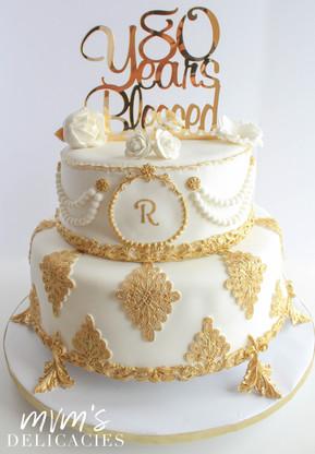 80th Gold Birthday Cake