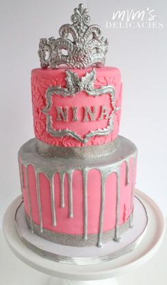Silver & Pink Cake