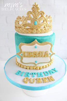 Gold & Teal Cake