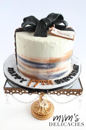 Brown & Black Birthday Cake