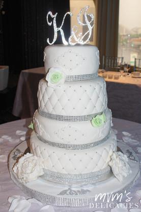Mint Green/Silver Wedding Cake