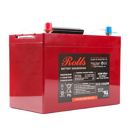 Rolls 12V 105 Ah AGM Deep-Cycle Lead Acid Battery, S12-116AGM