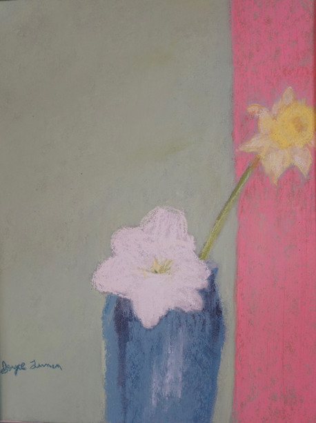 Flowers and a Blue Vase