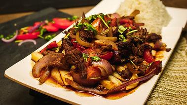 Beef saltado, a dish at Pisco Peruvian Cuisine