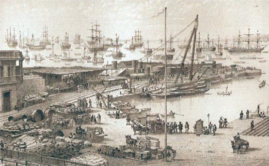 Grabado del Puerto del Callao 1860