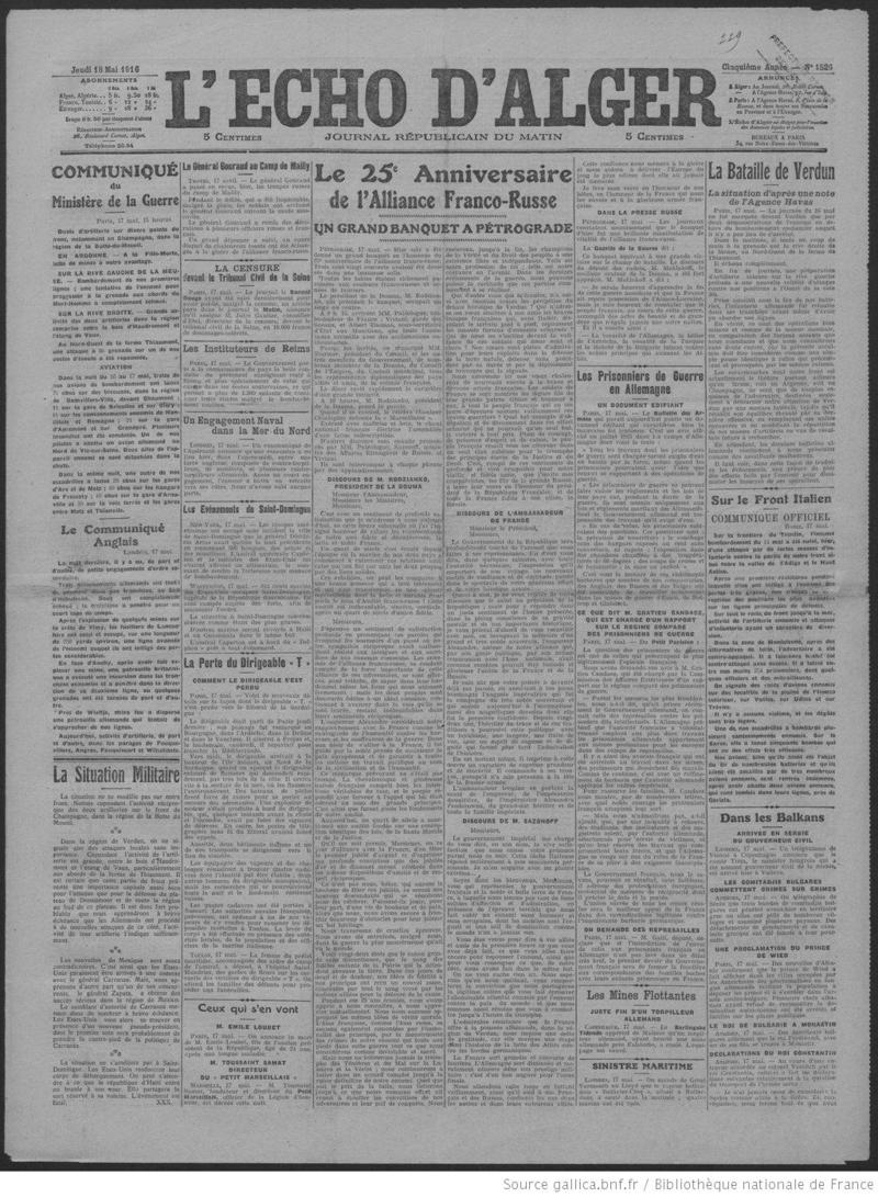 Une_de_L'Echo_d'Alger_18_mai_1916
