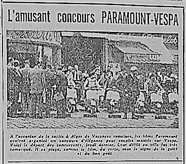 """Concours d'élégance """"Paramount-Vespa"""" Alger 1954"""