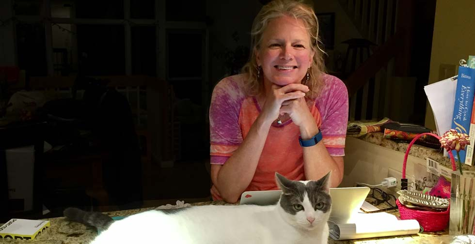 Karen with Kiwi the Cat