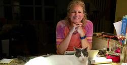 Karen with Kiwi the Cat