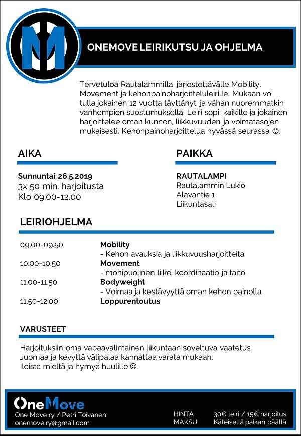 26.5.2019 OneMove leiriohjelma Rautalamp