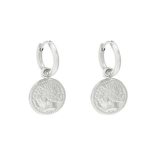 Oorbellen 'Amazing Coin' zilver