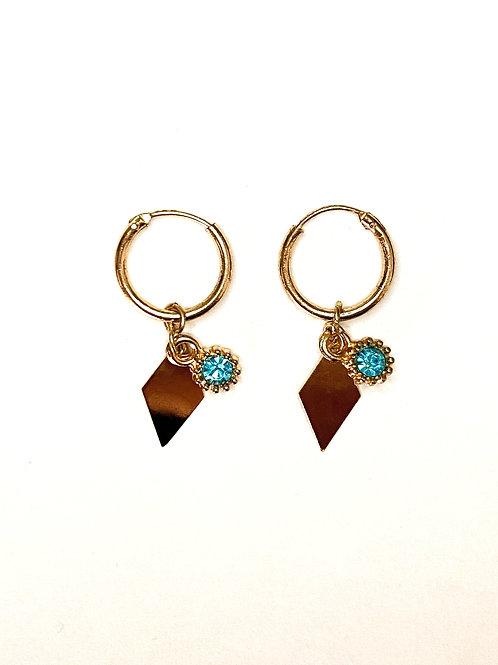 Oorbellen 'Blue Diamond' goud