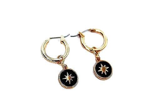 Oorbellen 'Black Star' goud