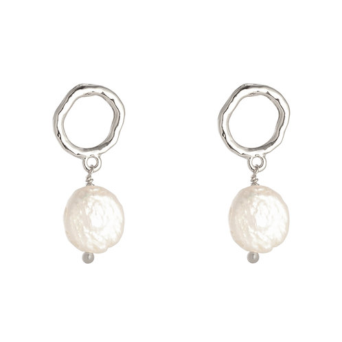 Oorbellen 'Lovely Pearl' zilver
