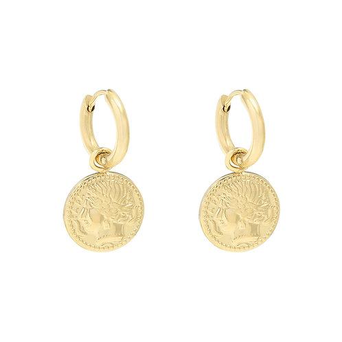 Oorbellen 'Amazing Coin' goud