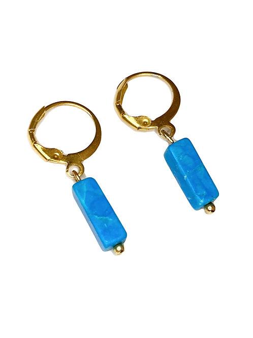 Oorbellen 'Nature stone Blue' goud