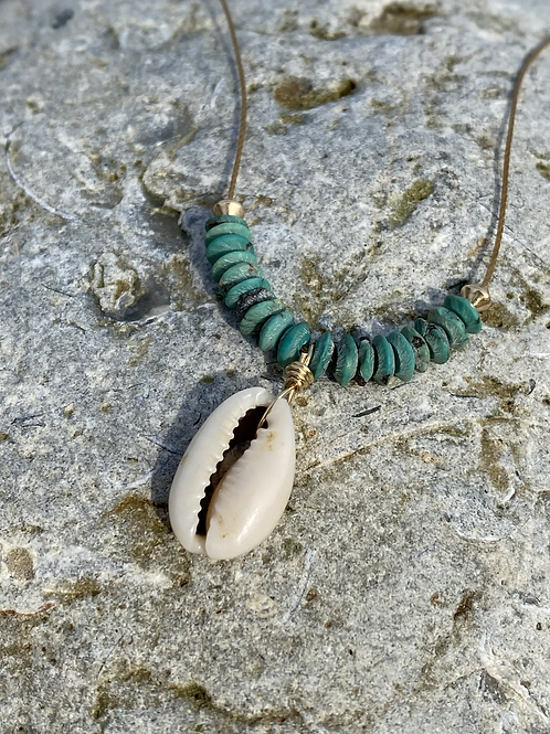Turquoise & Cowrie Necklace