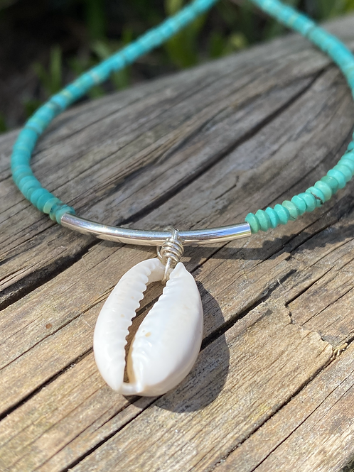 Turquoise/Cowrie Shell Necklace