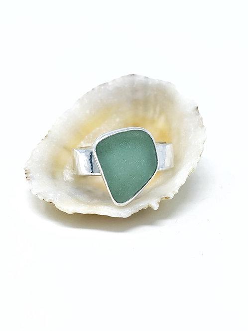 Light Teal Grey Sea Glass Ring