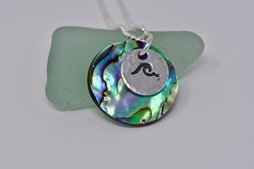Paua Shell & Wave Disc Necklace