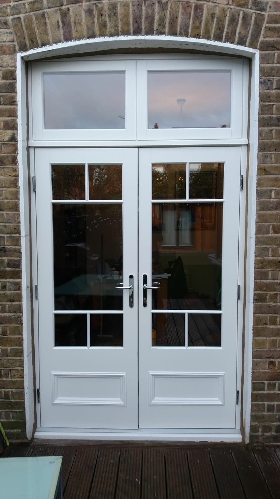 French doors with top lights exterior