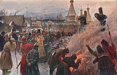 Сожжение протопопа Аввакума в Пустозерске.