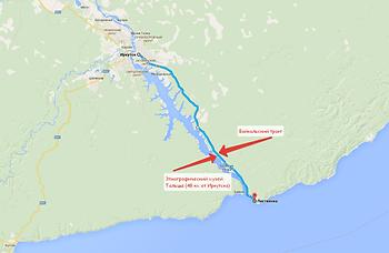 Байкальский тракт на карте