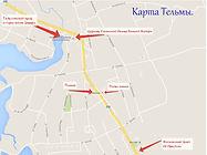 Карта расположения тельминской церкви.