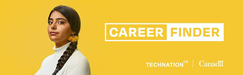 A fashionable cybersecurity expert stands next to the TECHNATION and CareerFinder logos.