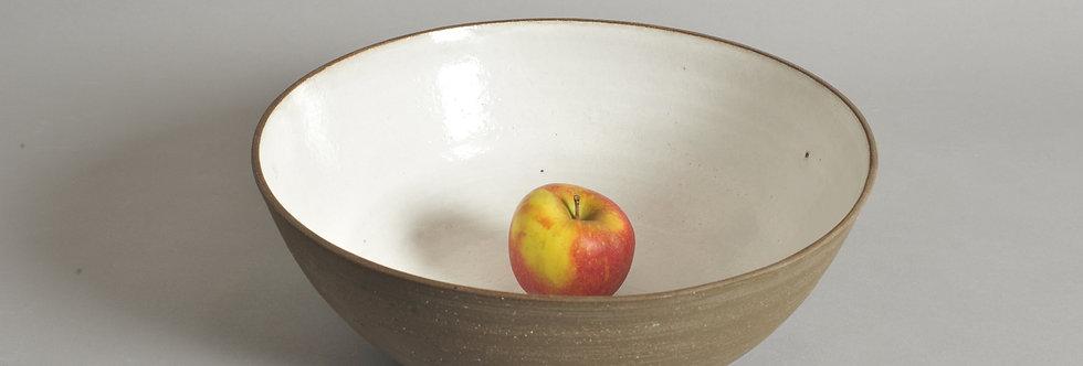 30 cm Schale aus braungrauem Ton, Höhe 10,5 cm - Unikat