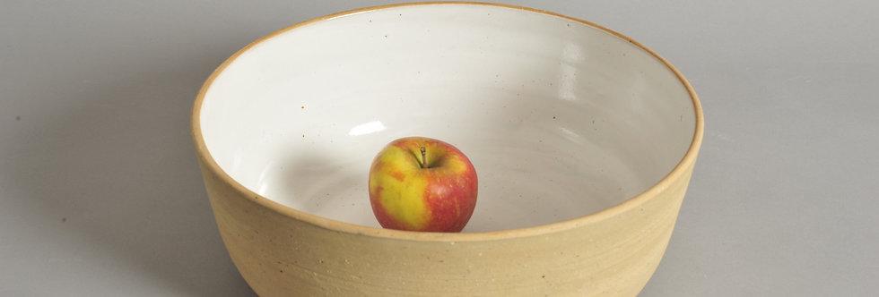 28 cm Schale aus sandgelbem Ton, Höhe 10,2 cm - Unikat